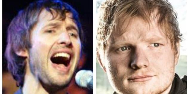 El cantante James Blunt (izq) y el artista Ed Sheeran (der) durante su cameo en 'Juego de Tronos'.