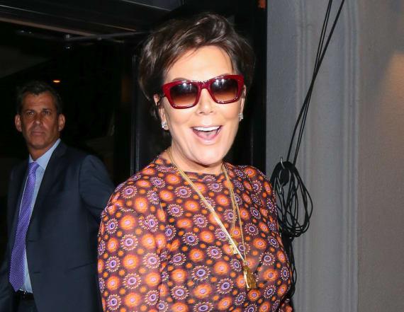 Kris Jenner flashes bra in sheer dress