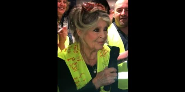 Brigitte Bardot fait une visite surprise auprès des gilets jaunes à Saint-Aygulf, près de Fréjus.