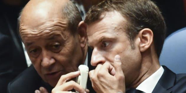 Jean-Yves Le Drian et Emmanuel Macron à New York le 26 septembre 2018.