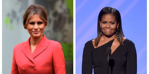 Montaje con las fotos de la actual primera dama de EEUU (izq), Melania Trump, y su predecesora en el cargo (der), Michelle Obama.