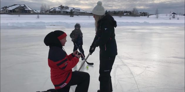 Colin Walter proposes to Rebecca Preston in the most Canadian way.
