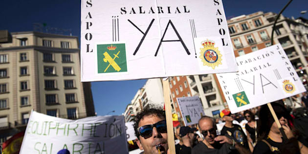 Imagen de la manifestación convocada en Madrid por la equiparación salarial entre cuerpos policiales, el pasado 18 de noviembre.