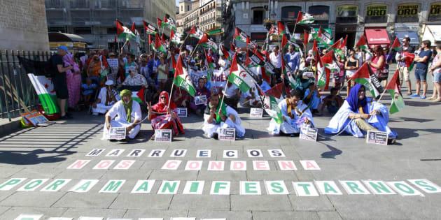 Protesta a favor de la soberanía del pueblo saharaui en Madrid, en una imagen de archivo.