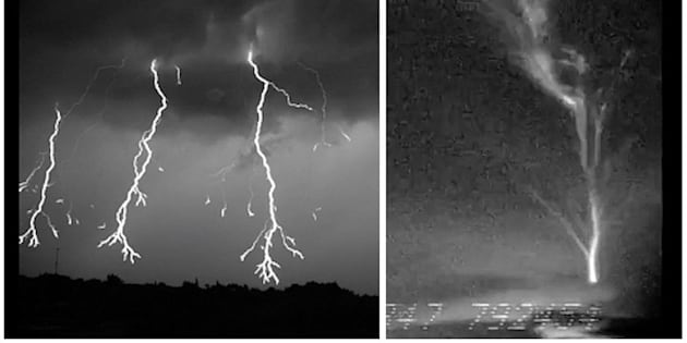 """A composite image during two Florida thunderstorms showing (at left) downward lightning discharge as it spreads its """"limbs"""" out en route to the ground; and (at right) a rare upward burst of lightning."""