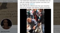 Un mexicano ataca en Rusia a un hombre en silla de ruedas por usar máscara de AMLO