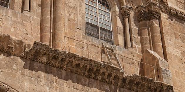 The immovable ladder on the Church of the Holy Sepulchre in the old city of Jerusalem