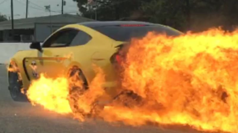 Fire is rarely a good thing. When it comes to cars controlled explosions are great. Fire spitting out of the exhaust pipe looks awesome. But when flames ... & Ford Shelby GT350 bursts into flames at 120 mph - Autoblog