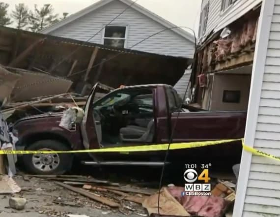 Truck crashes through home, misses sleeping woman