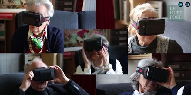 """Des lunettes de réalité virtuelle essayées par des seniors dans le cadre d'une vidéo réalisée par """"Le HuffPost""""."""