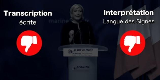 Au meeting de Marine Le Pen, le 5 février à Lyon, Sourds et interprètes ont noté que la candidate du Front national n'avait mis en place ni transcription écrite ni interprétation en langue des signes.