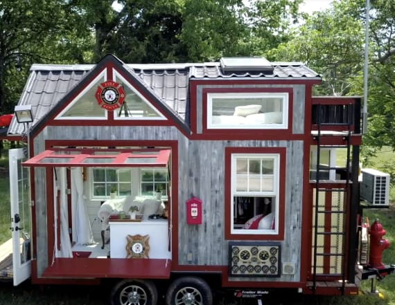 This tiny home was designed to look like a firehouse
