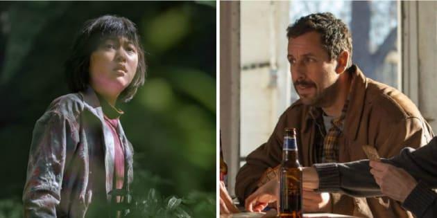"""À gauche, l'image est tirée du film """"Okja"""", réalisé par Bong Joon Ho. À droite, l'image est tirée du film """"The Meyerowitz Stories"""", réalisé par Noah Baumbach. Ils sont en compétition officielle à Cannes 2017."""