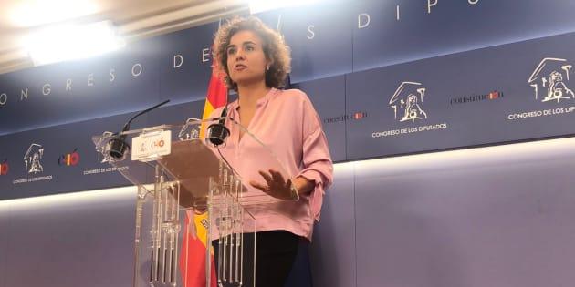 La portavoz del Grupo Popular en el Congreso, Dolors Montserrat, durante su primera rueda de prensa en el cargo.