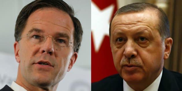 Mark Rutte, el primer ministro de Holanda, y Recep Tayyip Erdogan, el presidente de Turquía, retratados esta semana en Róterdam y Ankara, respectivamente.