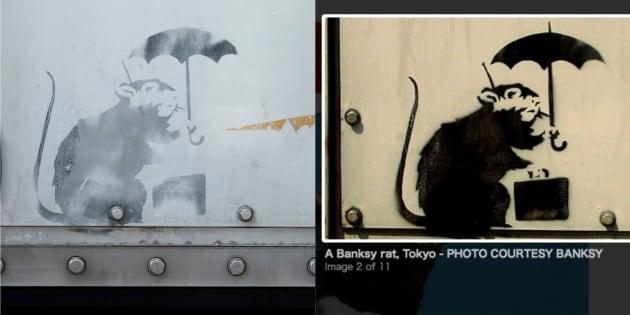 左が都内で見つかった絵。右は2010年にアメリカの週刊誌で取り上げられたバンクシー作品