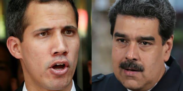 ベネズエラの暫定大統領を名乗るフアン・グアイド氏(左)と現職大統領のニコラス・マドゥロ氏