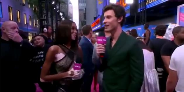 Winnie Harlow and Shawn Mendes represent Canada on the 2018 MTV VMAs pink carpet.