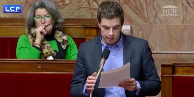 Ludovic Pajot à l'Assemblée nationale dans la nuit du mardi 12 au mercredi 13 février.