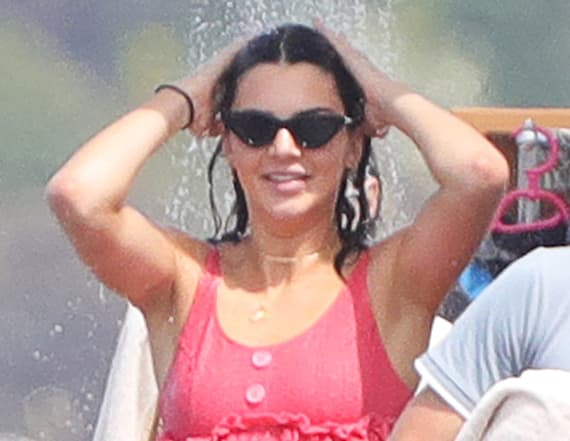 Kendall Jenner flaunts fit physique in pink bikini