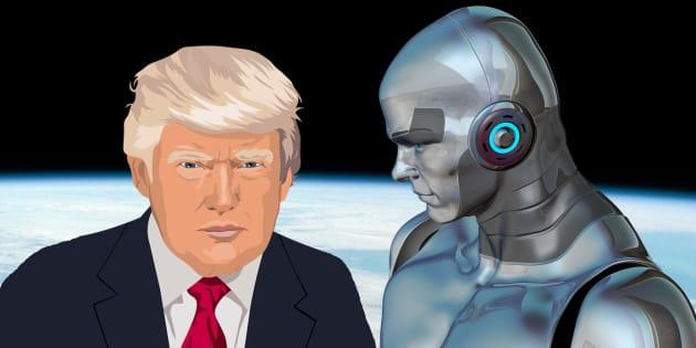 Robot y Trump