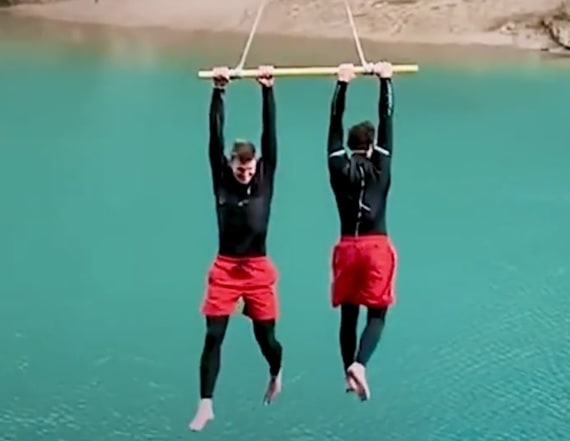 See these travelers perform tricks while ziplining
