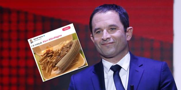 """Avec son """"craquage"""" au kebab, Hamon vole la vedette à Macron et son portrait"""