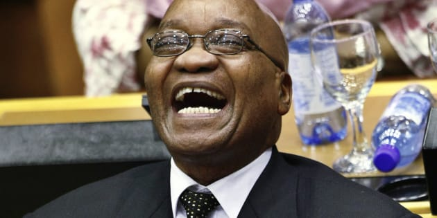 African National Congress President Jacob Zuma laughs during a special session of Parliament to formally elect the country's president in Cape Town, May 6, 2009.