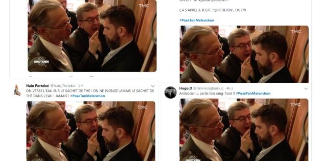 Les internautes ont tourné en dérision l'image de Jean-Luc Mélenchon criant sur un policier impassible.