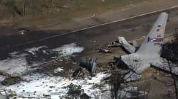 Les images impressionnantes du crash d'un avion militaire aux