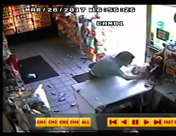 Man caught-on-camera attacking gas station clerk