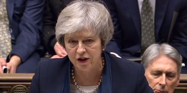 Theresa May au Parlement britannique à Londres le 15 janvier 2019.