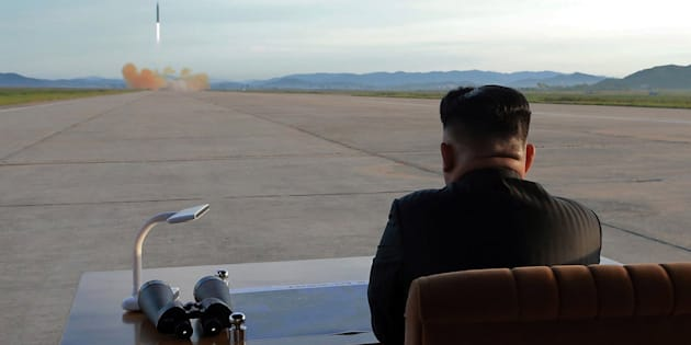 An undated photo released on Sept. 16, 2017 by the North Korean Central News Agency (KCNA) describes showing the country's leader, Kim Jong-un, viewing the launch of a medium-to-long range strategic ballistic rocket.