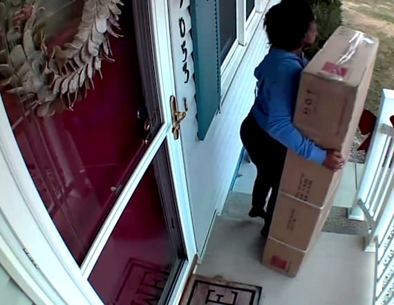 Woman caught on camera package from cancer patient