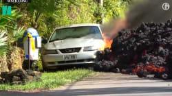 L'impressionnant timelapse d'une voiture dévorée par la lave à