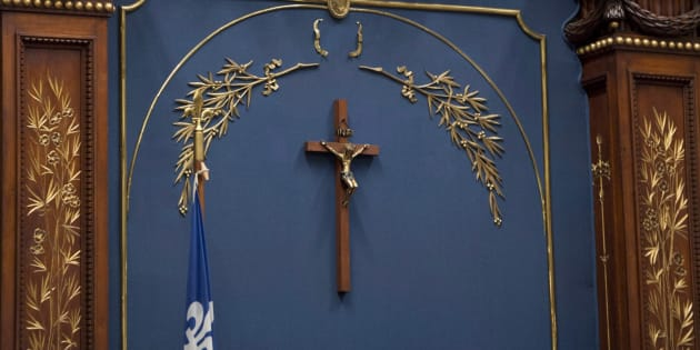 A crucifix is shown inside the National Assembly on Nov. 5, 2013 at the legislature in Quebec City.