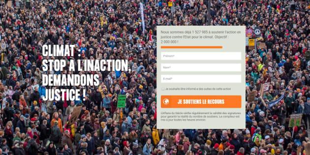 La pétition contre l'inaction de l'État sur le climat est une initiative de plusieurs ONG, notamment Greenpeace et Oxfam.