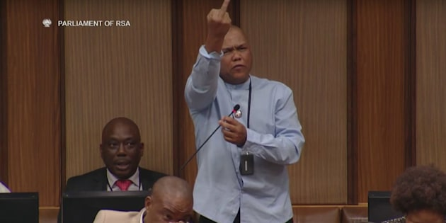 Mervyn Dirks showing his middle finger to MPs in Parliament on Thursday.