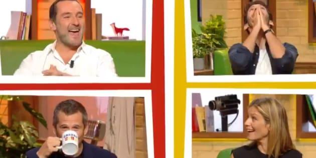 """Gilles Lellouche, Guillaume Canet, Pierre Niney et Marina Foïs dans le jeu """"Burger Quiz"""" sur TMC, le mercredi 17 octobre 2018."""