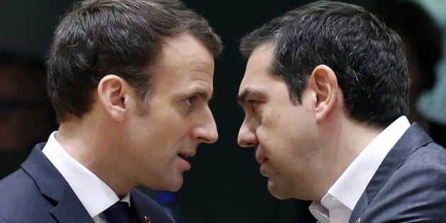 Le Président Emmanuel Macron et le Premier ministre grec Alexis Tsipras à Bruxelles, le 23 mars 2018.