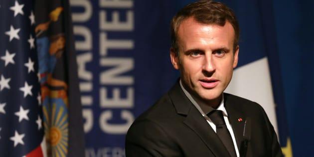 Emmanuel Macron aux Etats-Unis lors de la présentation d'un fond de soutien aux programmes bilingues anglais-français.