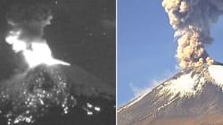 El volcán Popocatépetl lanza material incandescente y