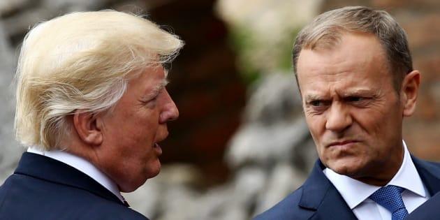 Il presidente Usa Donald Trump e il presidente del Consiglio Ue Donald Tusk