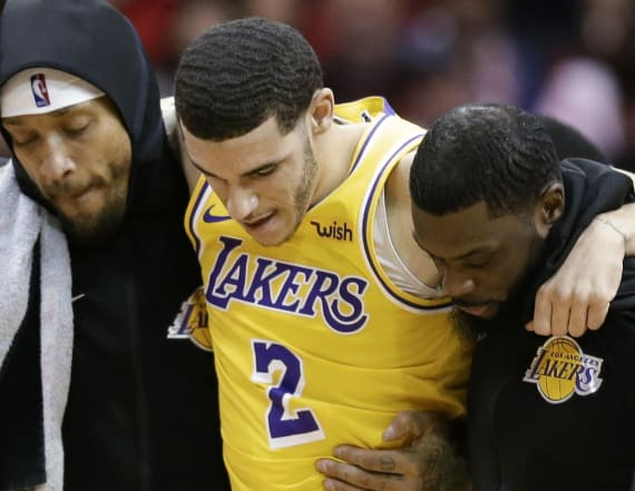 Lonzo Ball carried off court after scary injury