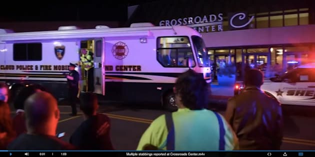 Police said a man wearing a private security uniform wounded eight people in a knife attack Saturday night at the Crossroads Center Mall.