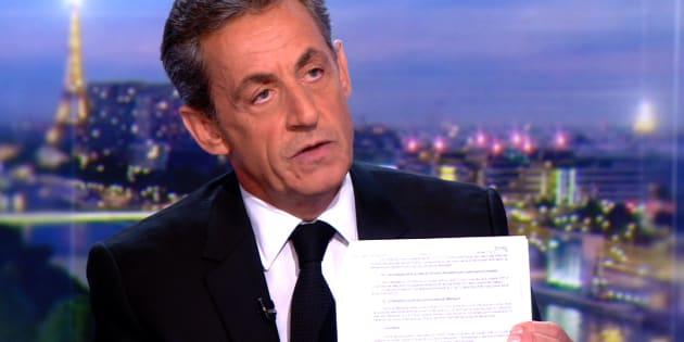 """En mars 2018 sur le plateau de TF1, Nicolas Sarkozy avait estimé que le document de Mediapart est """"un faux grossier""""."""
