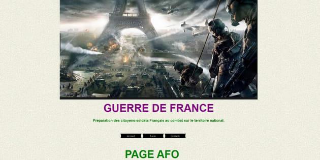 """Une capture d'écran du site de l'AFO, """"Guerre de France"""""""