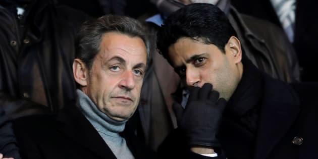 Nicolas Sarkozy au Parc des Princes le 11 décembre 2016 en compagnie de Nasser Al-Khelaifi, président du PSG.