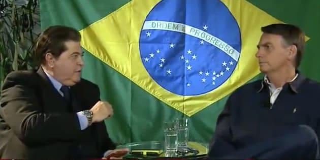 O presidente eleito Jair Bolsonaro (PSL) é entrevistado por José Luiz Datena, na Band.