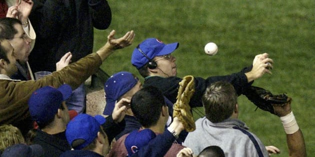 That's Bartman with the blue cap.